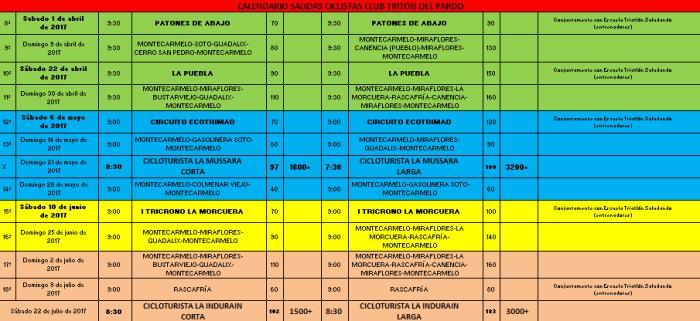Calendario Salidas Club Tritón del Pardo